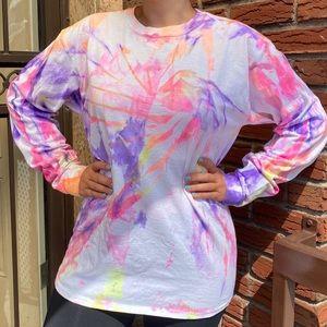 Neon tie-dye long sleeve T-shirt